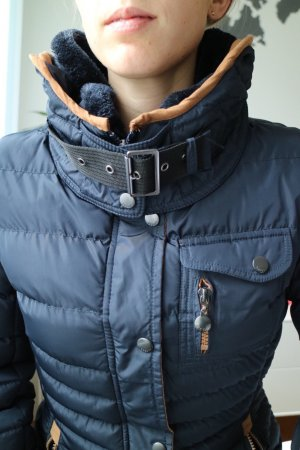 Quilted Coat cognac-coloured-dark blue