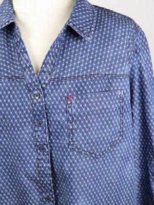 Bedruckt Jeans Hemd Bluse Cecil Größe XXL 46 Blau Grau Boyfriend Lässig Muster Karo Acid Waschung Blaudruck