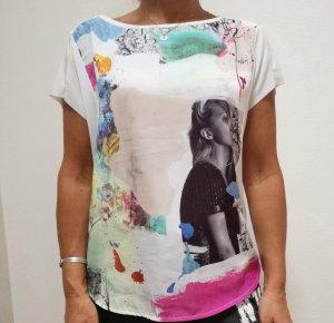 Bedrucktes buntes T-Shirt Bluse weiß Zara Gr. S