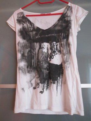 Bedrucktes schwarz/weißes T-Shirt