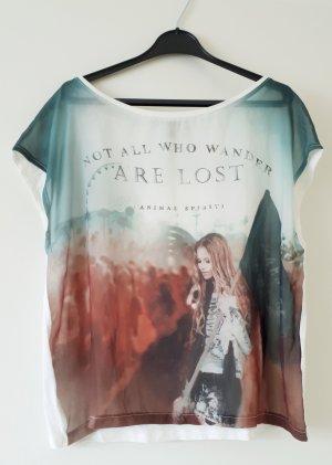 Bedrucktes T-Shirt aus Blusenstoff