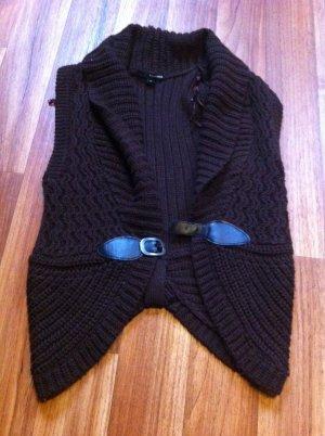 Beige bluse mit raffung inkl Weste dunkelbraun