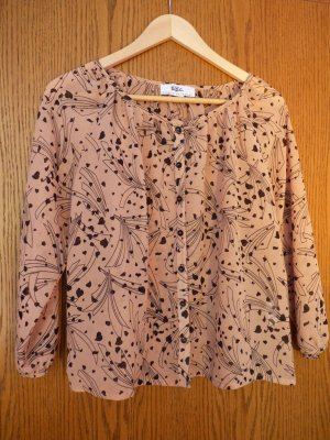 Beige Bluse mit Schwarzem Muster zum Knöpfen mit 3/4 Ärmeln in Größe 36
