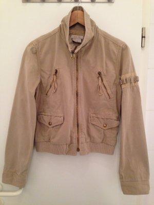 Zara Trafaluc Blouson aviateur brun sable-beige coton