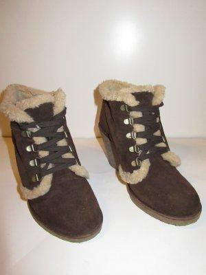 Beige-braune Ankle Boots / Schnür-Stiefeletten von Hanna White mit Plüsch-Futter