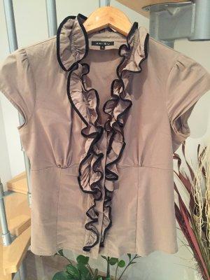 Beige/braune Bluse mit Rüschen