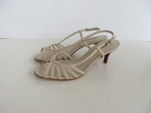 Buffalo Strapped High-Heeled Sandals beige-camel imitation leather