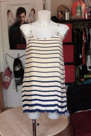 Beige/dunkelblau gestreiftes Mango Kleid S