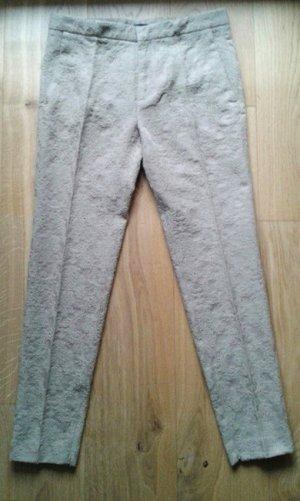 Beige elegante Hose mit geblümtem Stoff von Zara NEU