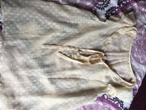 Beige goldene Kurzärmlige Bluse mit Schleife