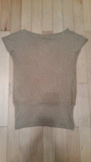 Beige-goldenes Longshirt von ZARA mit raffiniertem Rückenausschnitt, Gr. M