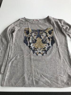 Beige/ grauer Cashmere Pullover von Bloom Größe 40 mit Pailletten Löwenkopf