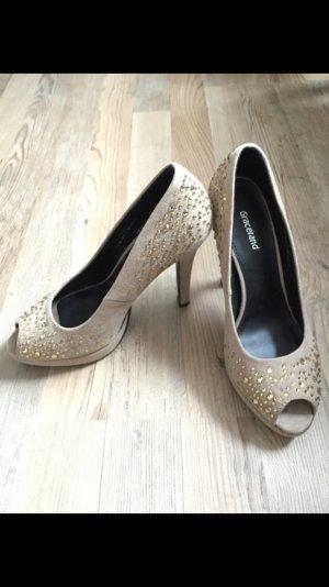 Beige High Heels/Peeptoes mit Glitzersteinchen