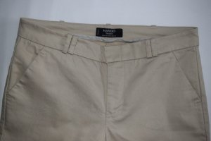 Mango Basics Peg Top Trousers beige cotton