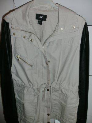 H&M Veste longue noir-beige clair coton