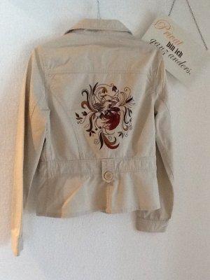 Beige Jacke mit toller Stickerei in Gr. 40. - Perfekt für den Frühling!!