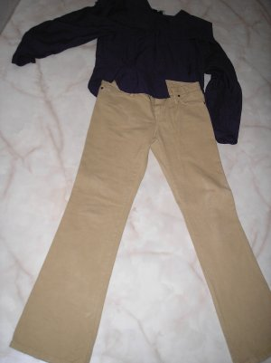 Benetton Jeans Low-Rise Trousers camel cotton