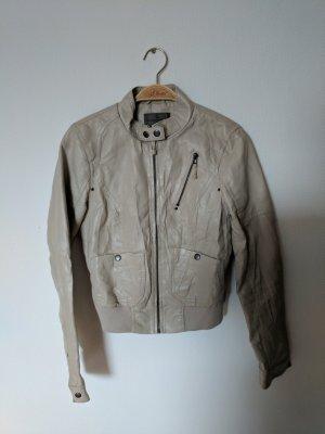 Beige Kunst Leder Jacke
