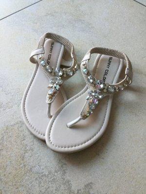 Sunny High-Heeled Toe-Post Sandals cream imitation leather