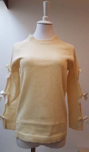 Short Sleeve Sweater dark yellow-cream polyacrylic