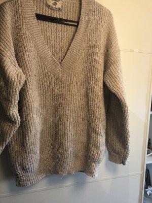 Beige Pullover mit V-Ausschnitt