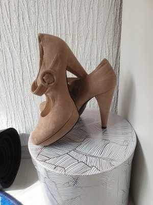 & other stories Tacones con plataforma beige-camel
