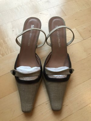 Tacones sin talón marrón arena-marrón oscuro fibra textil