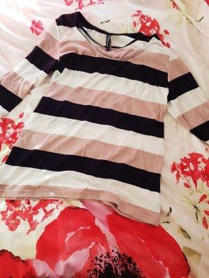 Beige / Schwarz / Weiß 3/4 Shirt