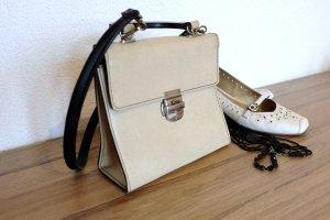 Beige-schwarze Handtasche, retro & stylisch