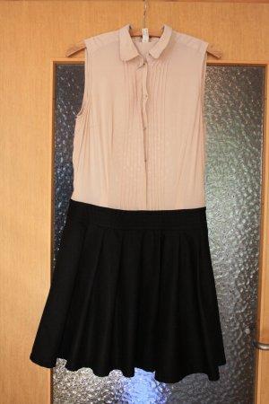 Beige schwarzes Kleid