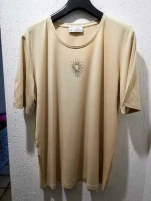 "Beige Shirt ""Helena Vera"" mit goldfarbenem Straßmotiv (Tropfenform)"