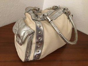 Beige Silber Handtasche / Shopper