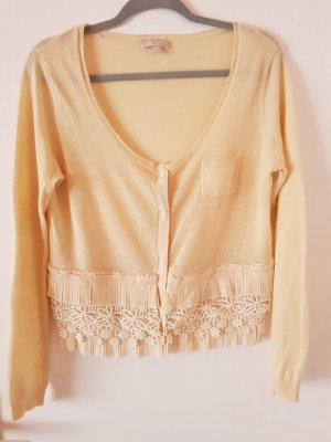 Beige Strickjacke Cardigan mit Applikationen