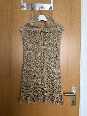 Vestido de cuello Halter beige-crema