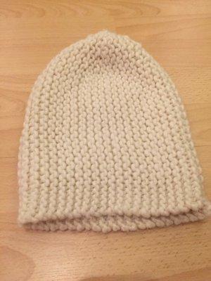 H&M Chapeau en tricot blanc cassé-crème polyester