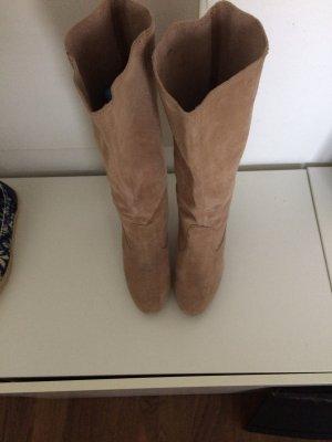 Esprit Platform Boots sand brown leather