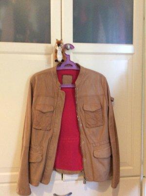 Beige Vintage-Lederjacke mit pinkem Futter
