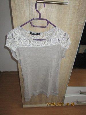 Beige Weißes T-shirt