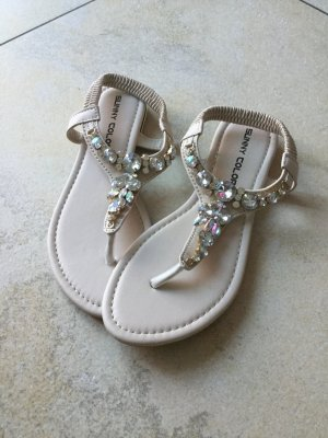 Sunny High-Heeled Toe-Post Sandals natural white imitation leather
