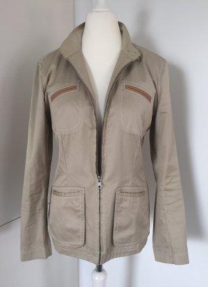 Beigefarbene Jacke mit Stehkragen & Lederdetails von Fay, Gr. XL (Empfehlung: Gr. 40)