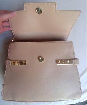 Shoulder Bag beige imitation leather