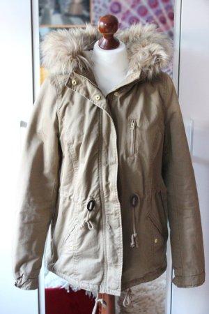Beigefarbene Winterjacke mit Kunstfellkragen H&M 38 S