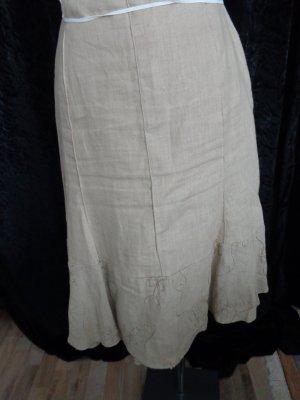 Beigefarbener Leinenrock mit bestickter Abschlußbordüre von 1,2,3 Paris in Gr. 38
