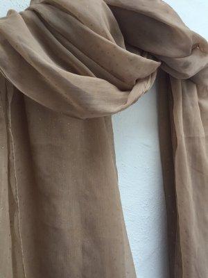 Beiger leichter Schal, goldene Glanzpunkte
