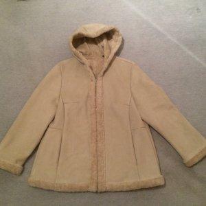 beiger Mantel / beige Jacke in Lederoptik mit Kapuze - Gr. 46