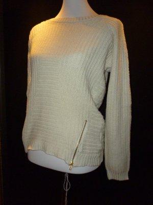Beiger Pullover mit Reißverschlüssen
