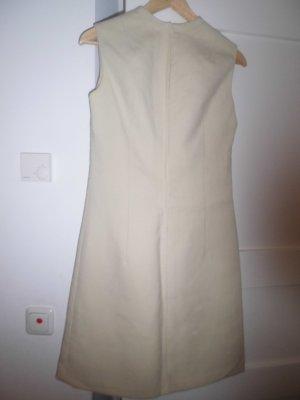 beiges Baumwollkleid mit Hinterverschluß, übers Knie, Größe 38
