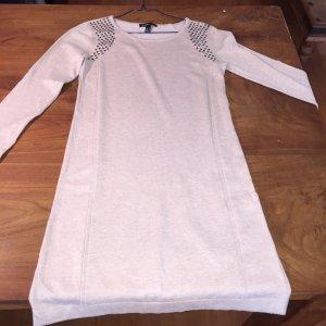 Beiges enges Mini-Kleid von Mango mit silbernen Applikationen