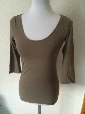 beiges / graues Shirt mit Dreiviertelärmel von H&M - Gr. S