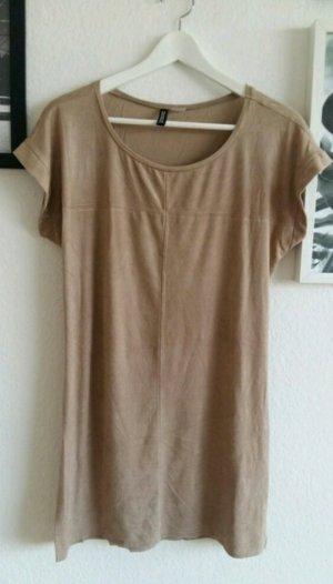 Beiges Indie Boho Kleid mit Verloursleder H&M